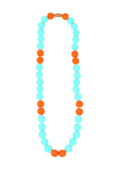 Waverly Necklace Turq and Orange Large beads safe for infants to chew on For more details call toll free 855-597-0313