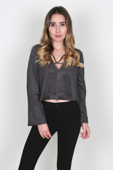 Faux Sued Bell Sleeve Cropped Top
