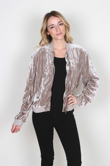 Ruched Velvet Bomber Jacket