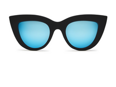 The Kitti Sunglasses has thick black frame cat eye look with blue lenses. For more details contact toll free 855-597-0313