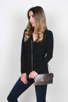Metallic Leather Wristlet w/ Crossbody Chain