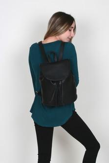 Drawstring Backpack w/ Suede Tassel