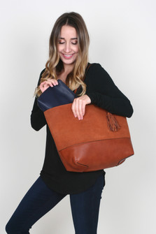 Faux Suede Reversible Panel Tote