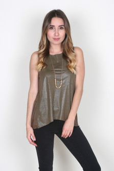 Snake Print Faux Leather Tank Top