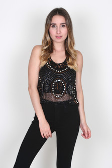 Gloria Beaded Crop Tank