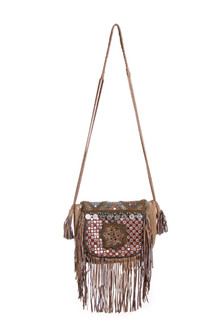 Mogara Fringed Beaded Crossbody Bag beige bag with varied pattern, coin and bead accents. for more details contact toll free 855-597-0313
