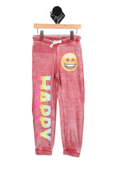 "Happy Emoji Burnout Sweatpants in Red Right leg has text ""Happy"" Left Hip has Happy Emoji For more detail contact toll free 855-597-0313"