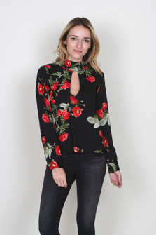 Roses All Day Keyhole Blouse