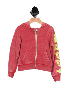 "L/S Happy Emoji Burnout Zip-Up Hoody in Red Front is solid with zipper and two pockets  ""Happy"" in text on sleeve For more detail call toll free 855-597-0313"