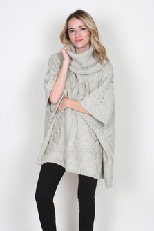 Fringed Turtleneck Poncho