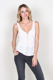 Pucker Lace Notch Cami
