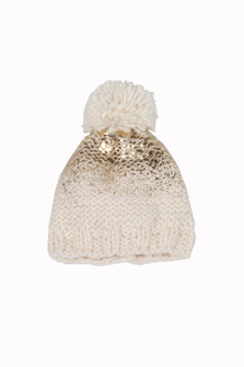 Splattered Gold PomPom Beanie (Infant)