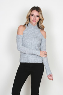 Cold Shoulder Fitted Sweater