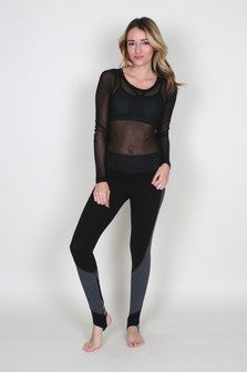 Basic Mesh Long Sleeve Top