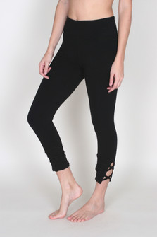 Fold-Over Lace Up Cropped Leggings