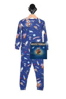 Moustronaut PJ Set in Blue  PJ is all blue with cartoon moustronaut and space details comes with a bedtime story book For more details contact toll free 855-597-0313