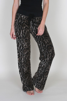Cheetah Fleece Drawstring PJ Pants