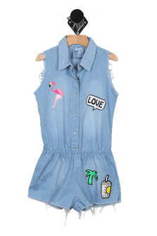 Tropical Patches Denim Romper (Little Kid)