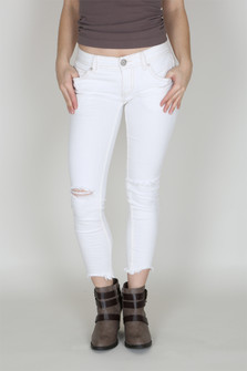 Destroyed White Ankle Skinny