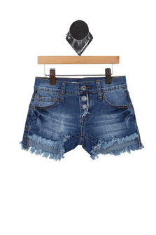 Button Front Frayed Shorts (Big Kid)