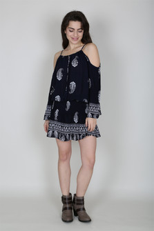 Paisley Print Cold Shoulder Dress