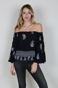 Off The Shoulder Paisley Printed Top