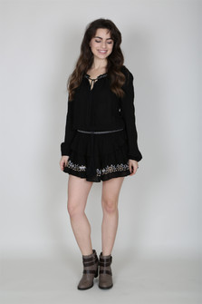 Embroidered L/S Tassel Dress