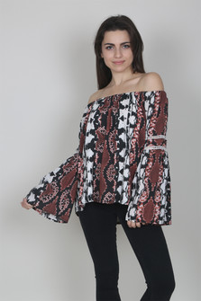 Clay Snake Print Off The Shoulder Top