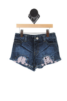 Denim Shorts W/ Crochet Detailing (Big Kid)