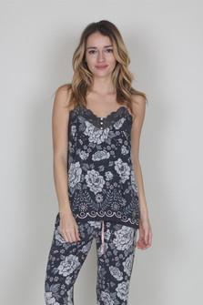 Floral PJ Cami w/ Lace Detail