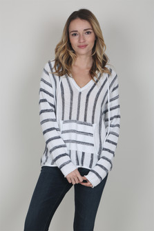 Striped Knit Hooded Sweater