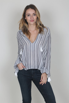 Striped Open Front L/S Blouse
