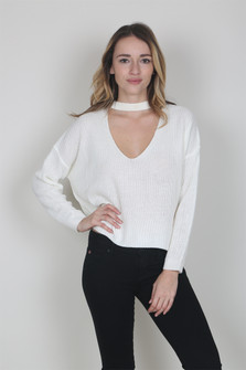 Mock Choker Cropped L/S Sweater