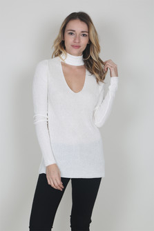 Mock Choker Fitted Sweater