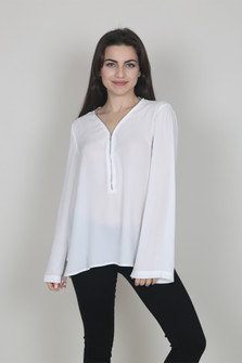 L/S Blouse w/ Zipper Detail