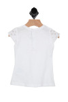 back shows little white tee featuring lace caplet sleeves with a snap up back closure and little bow at front.