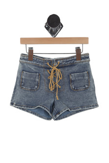 Lace Up Denim Shorts (Little Kid)