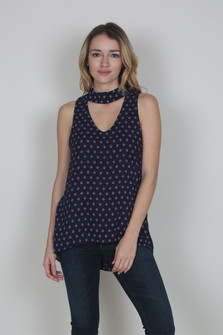 Sleeveless V-Neck Cutout Top