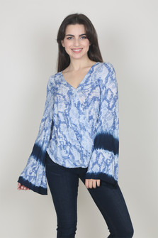 Surplice L/S Crocodile Print Blouse