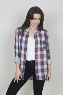 Celine Plaid Top
