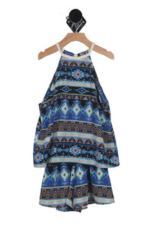 Aztec Print Tiered Romper (Big Kid)
