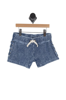 Side Lace Washed Out Shorts (Big Kid)
