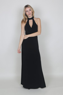 Mock Choker Cut Out Maxi Dress