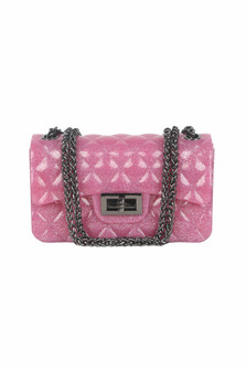 Quilted Jelly Purse w/ Chain Strap