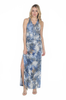 Drop Waist Tie Front Maxi Dress