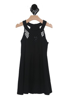 Diamond Yoke Fit and Flare Dress (Big Kid)
