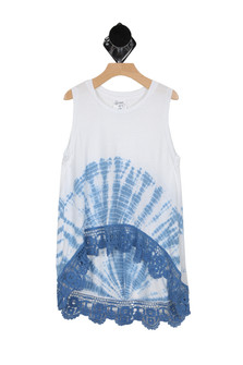 White Tank with Tye Dye bottom and Hi / Low hem line trimmed with Lace. Tye dye and lace in blue. For more detail contact toll free 855-597-0313