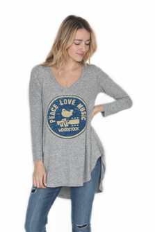 Hi-Lo L/S Peace Love Music Top