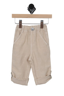 front shows  beige linen knee length shorts pants featuring an elastic waistband for an easy pull-up and the lightest weight material. With two pockets.