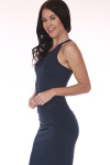 side shows all over light navy color with scoop front neckline and ruching at sides. midi length in middle of calves